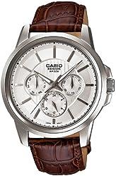 Casio Men's Core BEM307L-7AV Brown Leather Quartz Watch with Silver Dial