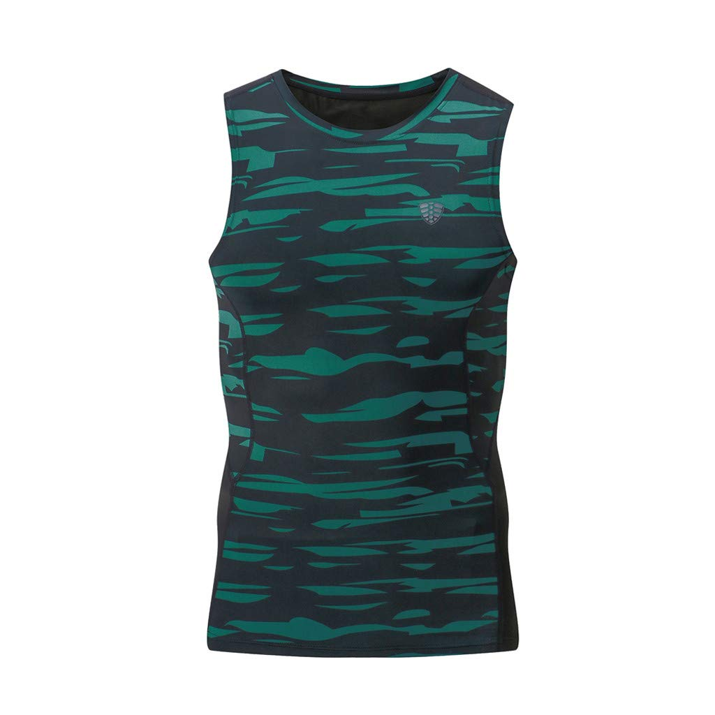 O Neck Tie Tops,Men's New Dry Compressed Fitness Vest Elastic Muscle Men's Sports Blouse Top,Green,L