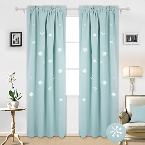 Deconovo Thermal Insulated Blackout Curtains Rod Pocket Window Drapes with Die Cut Snowflake for Girls Room, 52×95 Inch, Sky Blue