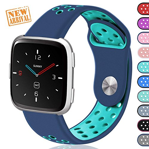 Ouwegaga For Fitbit Versa Bands Sport for Women Men Small Fitness Wristbands Straps Blue Teal