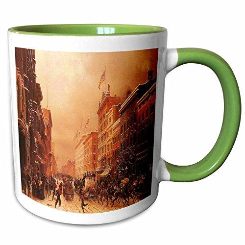 3dRose BLN Vintage New York City Collection - Broadway at Spring Street by Hippolyte Sebron, 1855 - 11oz Two-Tone Green Mug - 7 York New Street Spring