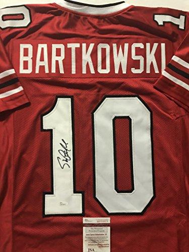 Autographed/Signed Steve Bartkowski Atlanta Red Football Jersey JSA COA
