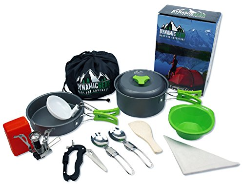 Camping Cookware Mess Kit Portable Lightweight Backpacking Hiking Gear cooking equipment 13 piece cookset. FREE additional Spork, Carabiner & Mini Stove. For Scouts, Hunting, Bug Out Bag and Outdoors. by DynamicGear