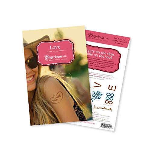 Conscious Ink Love Manifestation Tattoo 8-Pack, 1 Pack of 8 Inspirational Temporary Tattoos