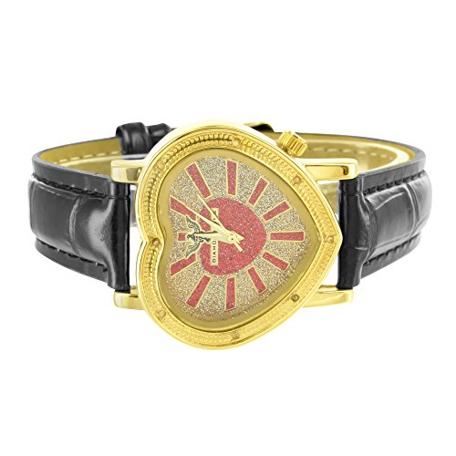 Heart Cut 14k Yellow Gold Finish Leather Band Women Crush Ice Red Dial Watch NEW (14k Gold Watch Leather Strap)