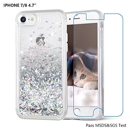 iPhone 8 case, iPhone 7 Case, Maxdara [Free Screen Protector] Protective Glitter Liquid Floating Bling Sparkle Quicksand Bumper Case Pretty Fashion Design for Girls Children 4.7 inch (Silver)