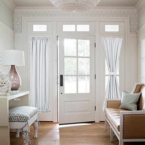 Room Darkening French Door Curtains - NICETOWN Room Darkening Patio Door Thermal Curtain Panels, Side Lights Door Panels 25