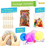 Water Beads Pack (30000 Small Water beads/150 Large Jumbo Water beads/10 Balloons) Mixed Jelly Beads Water Gel Balls,Sensory Toys and Decoration