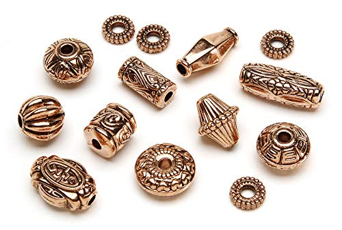 Copper Beads Darice (Darice, 32-Piece 11 Styles of Assorted Antique Copper Beads, Big Value)