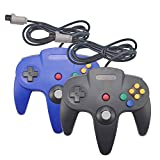 Joxde 2 Packs Upgraded Joystick Classic Wired Controllers for N64 Gamepad Console (Black and Blue)