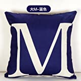 HOMEE English Letter M Cushion Mediterranean Modern Wind Cotton Linen Pillow Sofa American-Style is Simple and Stylish Pillow ,4545Cm, Lines Alpha-Beige,The M-blue,5555cm