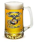 Beer Mugs with Handles – US Marine Corps Tankard Beer Mug – USMC – Semper Fidelis Marine Gifts for Men or Women – Beer Glasses with Logo – Set of 4 (25 Ounces)