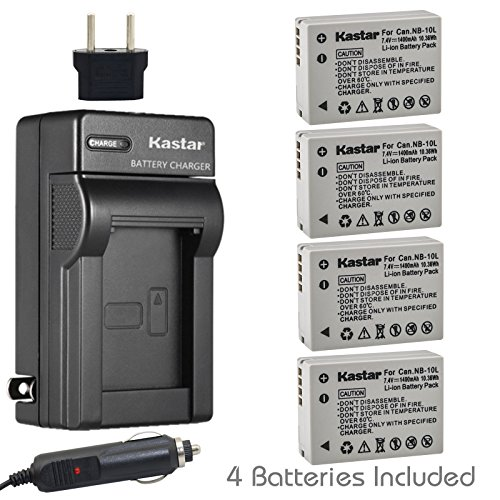Kastar Battery (4-Pack) and Charger Kit for Canon NB-10L, CB-2LC work with Canon PowerShot G1 X, PowerShot G15, PowerShot G16, PowerShot SX40 HS, PowerShot SX50 HS, PowerShot SX60 HS Digital - Kit 2lc