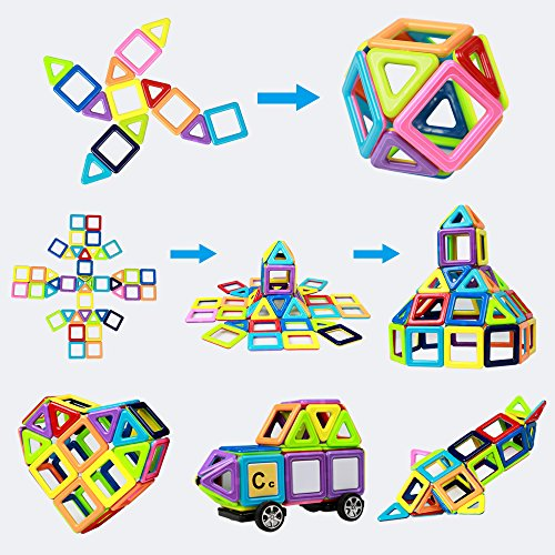 Innoo Tech Magnetic Building Blocks | 76Piece | Let Your Kid Learn Colors & Shapes Through Play | Instruction Booklet & Storage Bag Included | Creative & Educational Gift for Kids by Innoo Tech (Image #4)