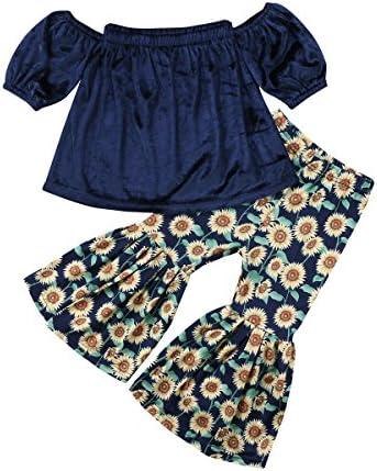 Lahyra 2PCS Baby Girl Off Shoulder Tube Top Shirt+Ruffle Floral Pants Casual Clothing
