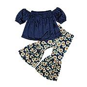 Lahyra 2PCS Baby Girl Off Shoulder Tube Top Shirt+Ruffle Floral Pants Casual Clothing (Navy Blue, 1-2 Years)