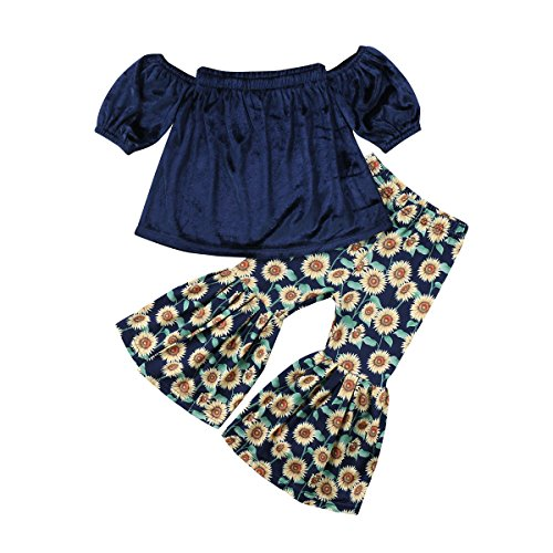 2PCS Baby Girl Off Shoulder Tube Top Shirt+Ruffle Floral Pants Casual Clothing (Navy Blue, 2-3 Years) ()