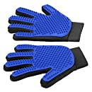 [Upgrade Version] Pet Grooming Glove - Gentle Deshedding Brush Glove - Efficient Pet Hair Remover Mitt - Enhanced Five Finger Design - Perfect for Dog & Cat with Long & Short Fur - 1 Pair (BLUE)