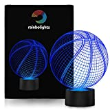 Basketball Night Light 7 Color- LED Night Light- A Great Sports Gift Idea for him-LED Does Not Get Hot- By rainbolights Ideal In A Bedroom or Sportsroom