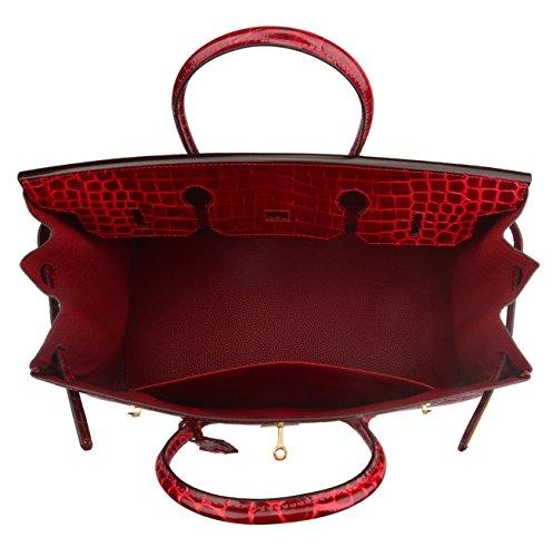 Ainifeel 40cm Oversized Patent Leather Padlock Handbag Business Purse (40cm OVERSIZE, Claret red) by Ainifeel (Image #6)
