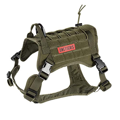 OneTigris Tactical Dog Harness - Fire Watcher Comfortable Patrol K9 Vest (Ranger Green, Medium)