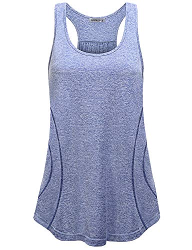 MOQIVGI Exercise Shirt,Women Dri Fit Racerback Tank Tops Girls Comfy Breezy Ribbed Knitted Workout Camisole Tanks Summer Fashion Casual Crew Neck Sleeveless Yoga Run Gym Sports Tees Blue - Camisole Knitted