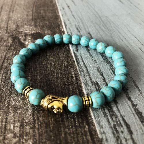 (Turquoise Buddha Head Healing Bracelets | Stretch Yoga Jewelry | Turquoise Howlite Beads Meditation Buddhist Bracelets)