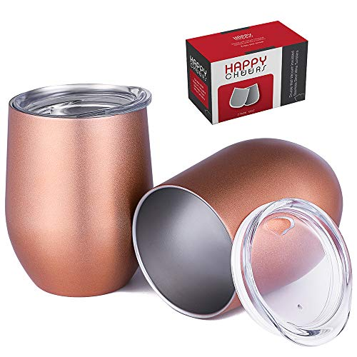 Happycheers Stainless Steel Wine Tumbler Cups with Lid-12 Oz Vacuum Insulated Metal Water Glasses Set of 2 for Coffee Drink Cocktail Outdoor Travelwith Gift Box 12 oz - 2 pack AAA Rose Gold
