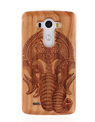 LG G3 Case, MAKEIT0153; Handmade natural solid wood bamboo bumper case cover for LG G3 Case (for LG G3 Verizon, AT&T Sprint, T-mobile, Unlocked) with MAKEIT logo Touch screen stylus and Screen protection film (Cherry wood elephant pattern)