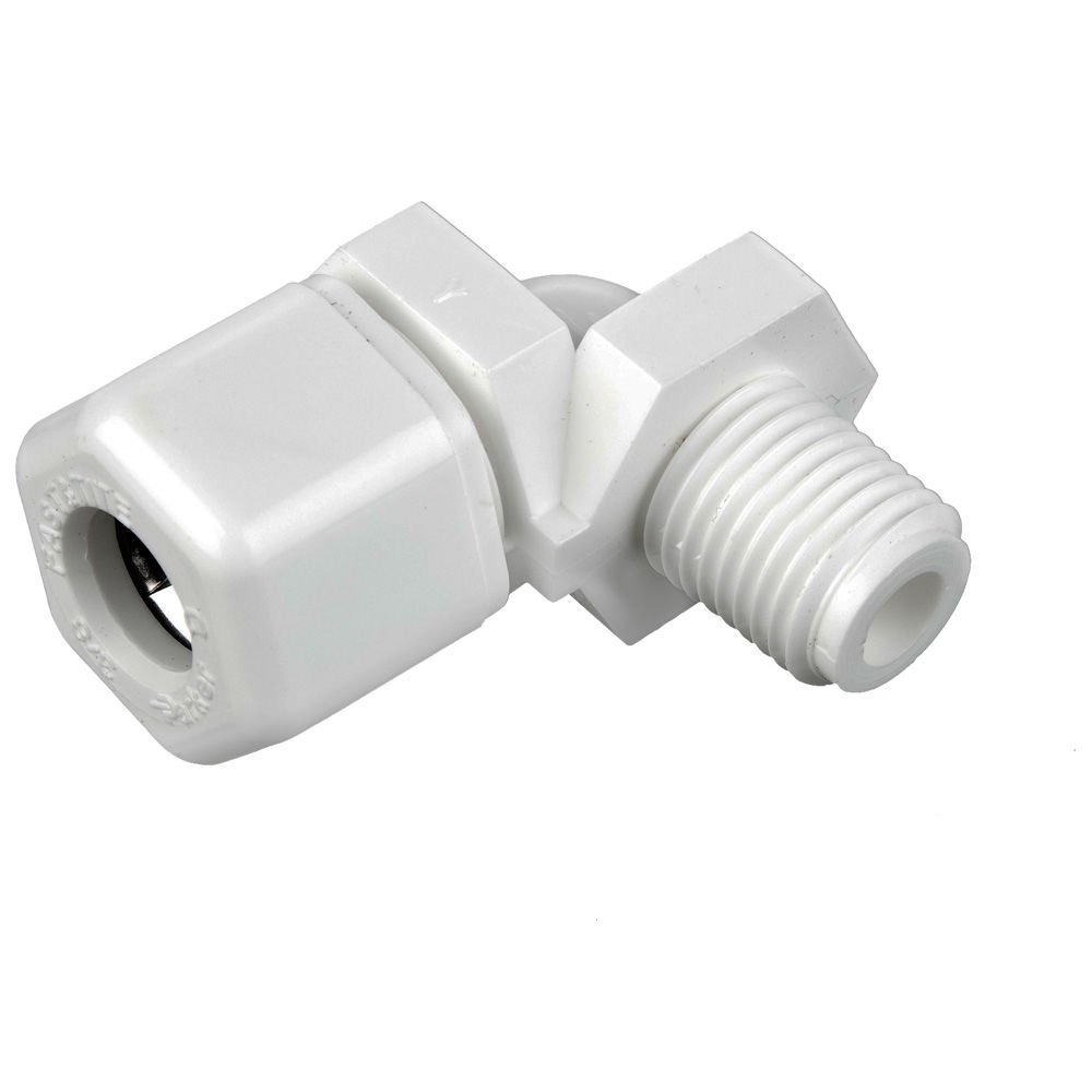 Fast-Tite Compression and NPTF 90 Degree Elbow Parker W4ME2 Compression Style Plastic Fitting 1//4 and 1//8 1//4 and 1//8 White Polypropylene Tube to Pipe