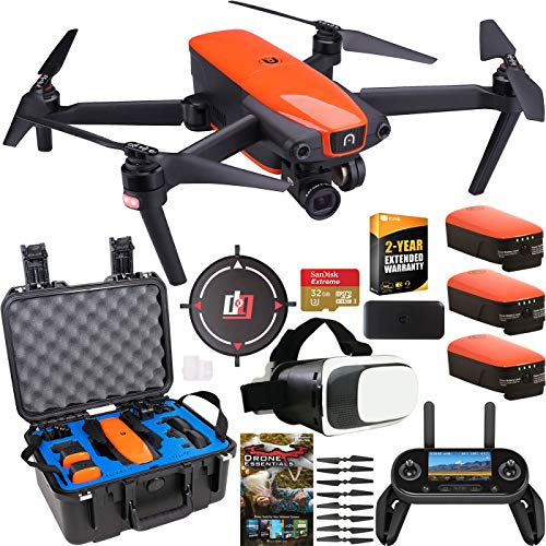 Autel Robotics EVO Drone Quadcopter Rugged Extended Warranty Bundle 4K Ultra HD Video 3-Axis Gimbal 12MP Photo Camera with OLED Remote Control + FPV VR Goggle Headset + Hard Case + Triple Battery Kit