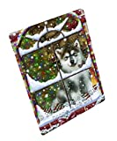 Please Come Home For Christmas Alaskan Malamute Dog Sitting In Window Art Portrait Print Woven Throw Sherpa Plush Fleece Blanket (50x60 Sherpa)