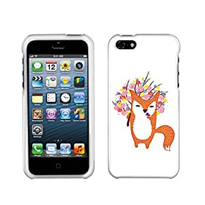 Fincibo (TM) Apple iPhone 5 5S Protector Cover Case Snap On Hard Plastic - Fox & Flowers, Front And Back
