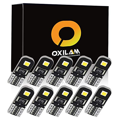 OXILAM 194 LED Bulbs Super Bright 6000K White CANBUS with 2835 Chipsets for T10 W5W 2825 168 LED Interior Bulbs for Parking Lights Door Lights License Plate Lights (10 PCS) ()