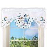 Floral Garden Window Valance Curtain with Birds & Rod Pocket Top