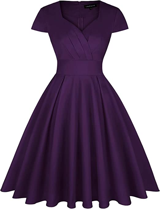 MINTLIMIT Abito da donna anni 50 con scollo a V A-Line a mezza manica Rockabilly Vintage Swing Party Dress