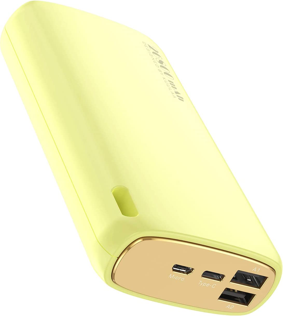 Portable Charger 26800mAh, KUULAA Power Bank Ultra-High Capacity Portable Battery, 5V 2.1A External Battery Pack Dual-input and Dual-output Cell Phone Battery Charger for iPhone Samsung & etc (Yellow)