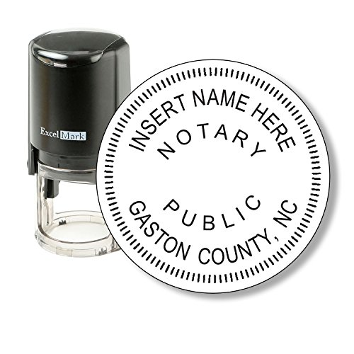 Round Notary Stamp for State of North Carolina - Self Inking Stamp - Features the ExcelMark Double Sided Ink Pad for Longer Product Life