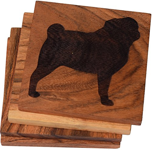 Pug Coaster (Pug (10+ Dog Breeds Available to Choose From) Drink Coasters Engraved Acacia Wood Design - Set of Four)