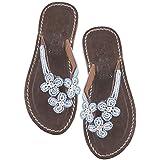 Aspiga Girls Blue 3 Flower Flip Flops