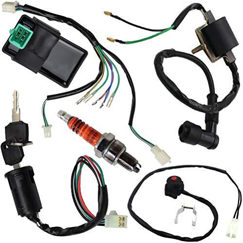Wire Harness Wiring Loom CDI Ignition Coil Kill Switch Spark Plug Rebuild Kit for 125CC 110CC 90CC 70CC 50CC ATV Go Kart Kick Start Dirt Bike Pit Bike Quad Bike by TOPEMAI