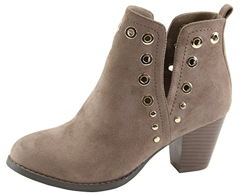 Ankle Lovmark Stacked V Grommet Chunky Out Taupe Bootie Women's Heel Cut Studded wOAzwRgq