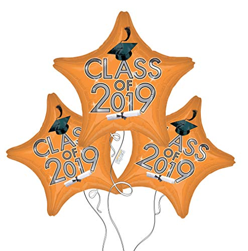 Graduation Cap Class of 2019 Star Mylar Balloons in Orange - 3 Pack