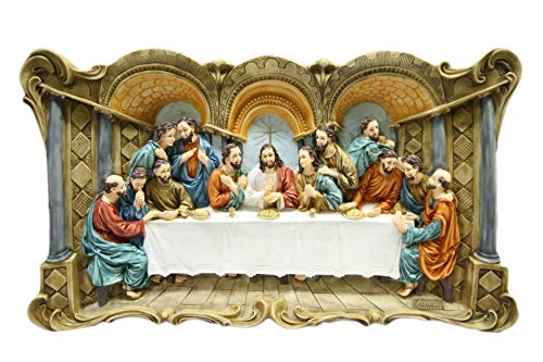 Large Wall Plate Plaque of The Last Supper Jesus Christ Statue 3D by Vittoria Collection Made in Italy ()