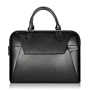 Arvok 13 13.3 Inch PU Leather Laptop Bag With Handle & Zipper Pocket/ Water-resistant Notebook Computer Case/Ultrabook Tablet Briefcase Carrying Sleeve For Acer/Asus/Dell/Lenovo/HP/Samsung/Sony, Black