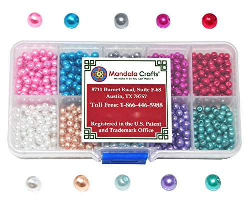 Mandala Crafts 4mm 6mm 8mm Assorted Round Colored Glass Pearl Beads Kit in Bulk for Jewelry Making (4mm, Combo - Beads Pearl Glass 50 8mm