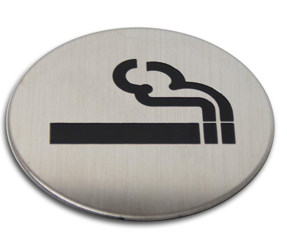 Edelstahl T/ürschild Raucher Bereich 75 mm Hinweisschild Piktogramm
