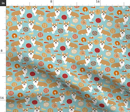Corgi Pie Fabric - Pumpkin Cherry Bakery Baker Food Cooking Dog Pies Fall Autumn Pet Portrait Gift Print on Fabric by the Yard - Denim for Sewing Bottomweight Apparel Home Decor Upholstery