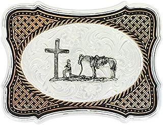 Montana Silversmiths Scalloped Legacy Weave Praying Cowboy Buckle