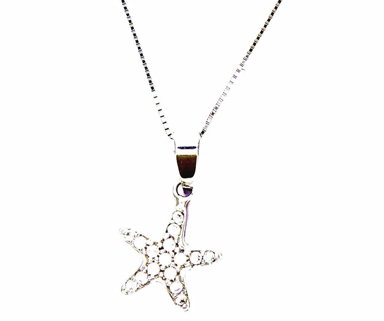 Pegaso Joyería–Collar oro blanco 18kt Veneta con colgante pequeño Estrella Marina con circonitas–Cadena para mujer chica niña cm 40/45